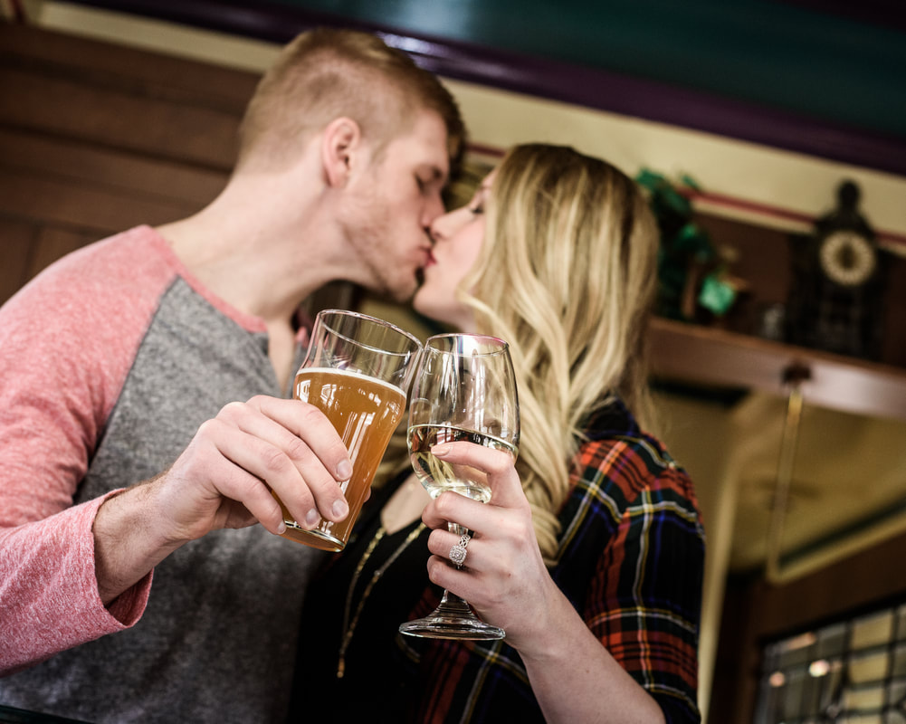 Photo of couple kissing in train car at Berea Depot
