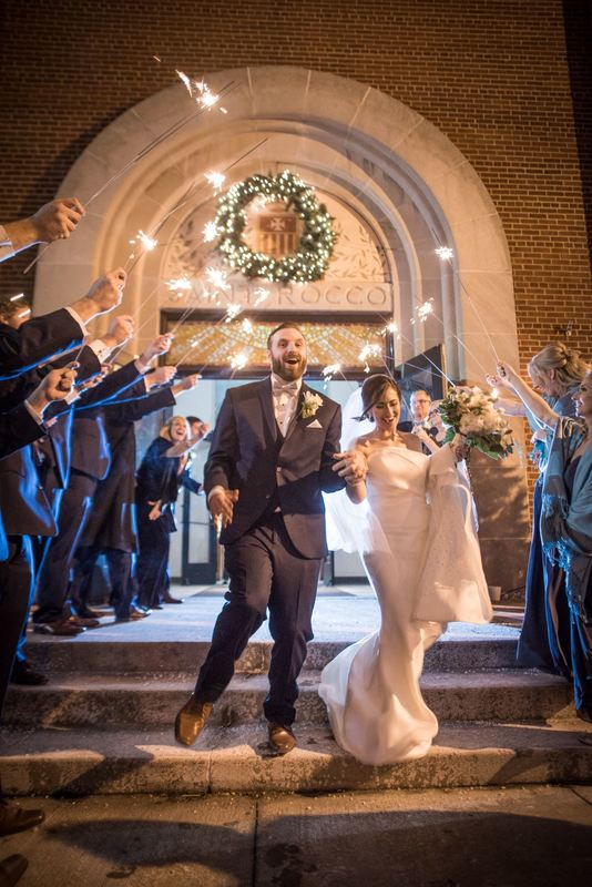 Sparkler Exit Wedding St. Rocco's Church Cleveland
