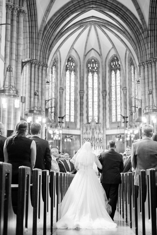 Akron Wedding Photographer- Father walks bride down the aisle Holy Trinity Lutheran Church Akron Ohio