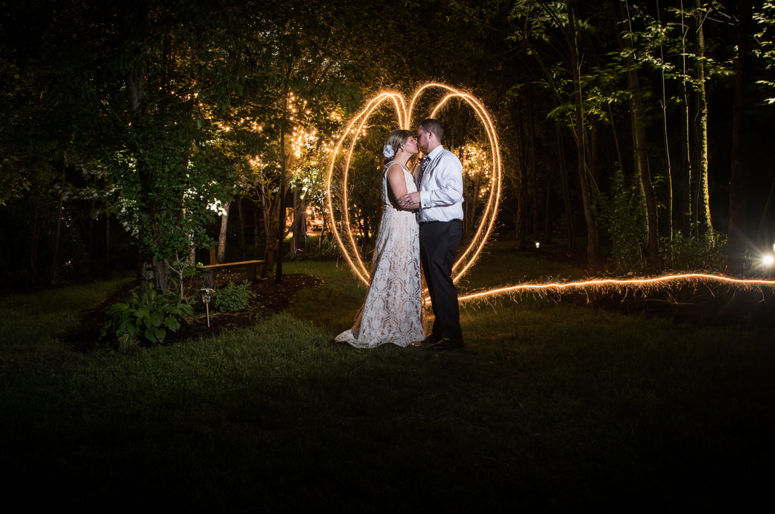 Bride and Groom with Sparkler Heart Gish Barn