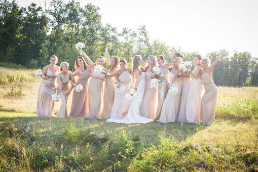 Akron Wedding photo of bridesmaids at Blue Heron.