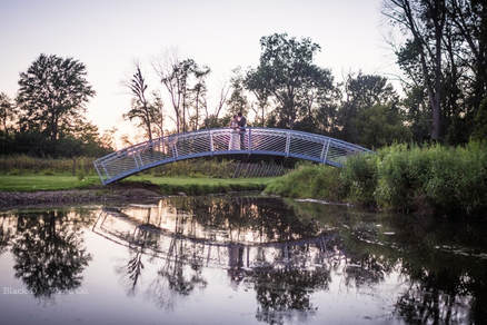 Akron Wedding Photo of a bride and Groom at sunset at Watersedge Vineyard.