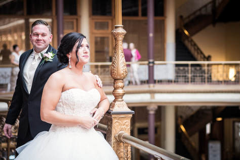 Cleveland Wedding Photo of a bride and groom having their first look at the Arcade.