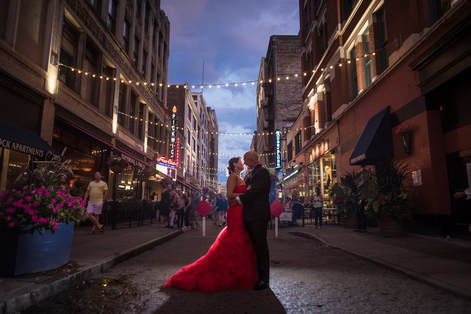 Cleveland Wedding Photo of a couple on E. 4th St. in Cleveland.
