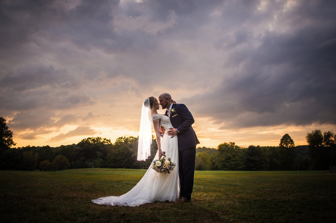 Akron Wedding Photo of a bride and groom at sunset